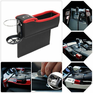 Red Car Seat Driver Storage Box Catcher Gap Filler Coin Collector Cup Holder