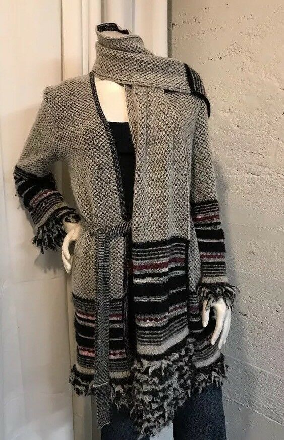 MISSONI Knit Cardigan And Scarf Set Wool Mohair Sz 42 US 8 Orig  900
