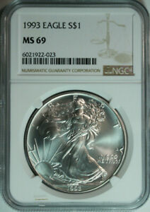 1993-American-Eagle-Dollar-999-Pure-Silver-NGC-MS69