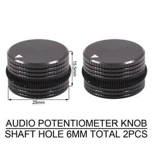 2PCS-AUDIO-KNOB-MACHINED-ALUMINUM-Amplifier-POTENTIOMETER-VOLUME-CONTROL-SWITCH