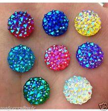 60pcs Mixed AB 12mm Flat Back Round Resin Rhinestones Embellishment Craft Gems