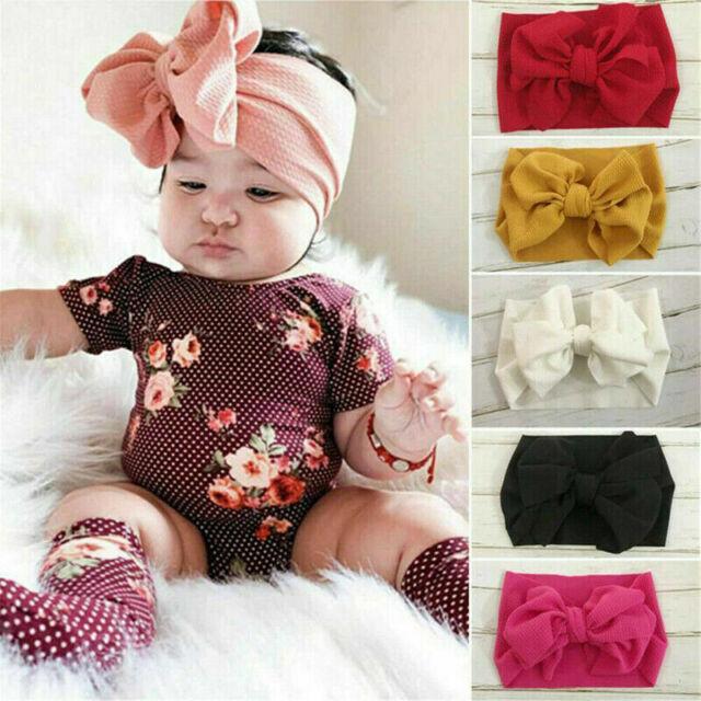 White Hair Bow Infant Headband Knot Bow Baby Turban Headwrap Baby Turban Nylon Infant Headband Newborn Baby Bow Baby Girl Headband