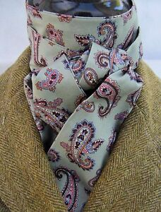 Self Tie Olive Green amp Pink Paisley Design Riding Stock  Hunting Dressage Tie - Ammanford, Carmarthenshire, United Kingdom - Self Tie Olive Green amp Pink Paisley Design Riding Stock  Hunting Dressage Tie - Ammanford, Carmarthenshire, United Kingdom