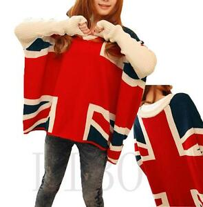 Women-V-neck-Chic-Boho-Batwing-Sleeve-British-UK-Flag-Loose-Pullover-Sweater-Top