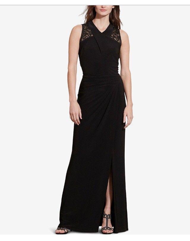 Lauren Ralph Lauren Women's Lace-Yoke Jersey Gown Long Dress Nice Size 4