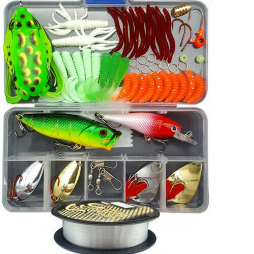 Fishing Lures Tackle Spinners Plugs Soft Bait Pike Trout 164pcs Set Salmon Box