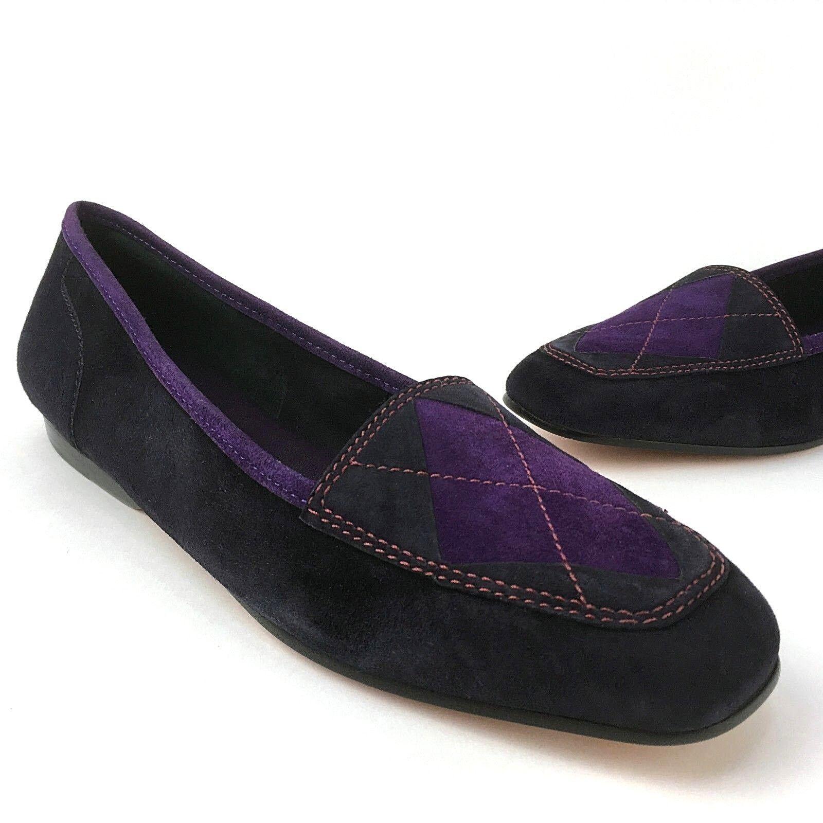 Nouveau vintage Enzo Angiolini 7 M balucas violet Argyle en Cuir Suédé Mocassins Flats