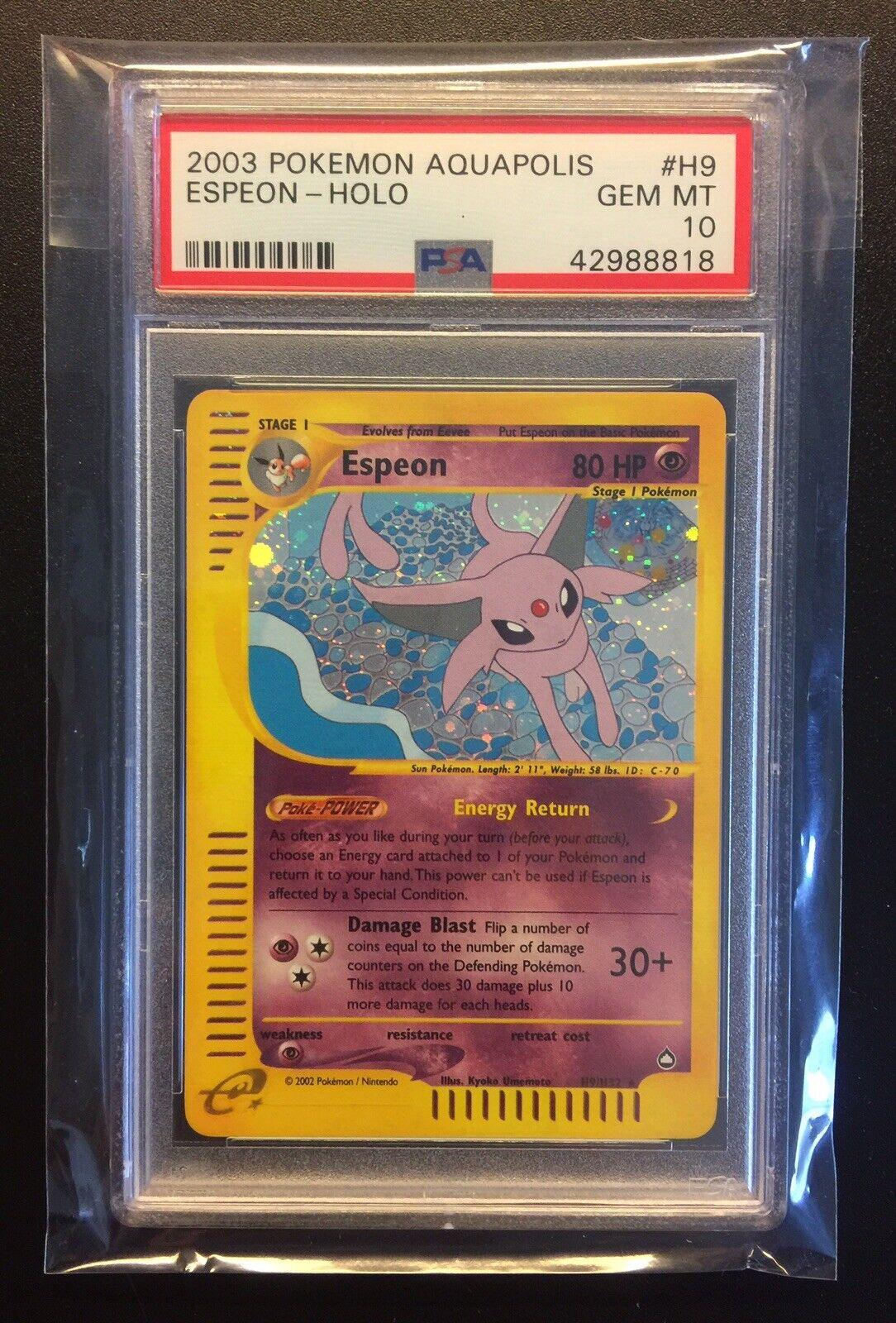 2003 Pokemon Espeon Aquapolis Holo H9 H32 Psa 10 Gem Mint (Read Description)