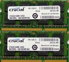Crucial Ram MEMORIA 16GB KIT DDR3 PC3-12800,1600 MHz per 2012 Apple Macbook Pro's