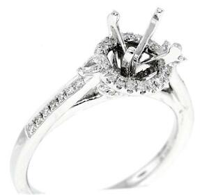 Halo-Engagement-Semi-Mount-Ring-Setting-Diamond-VS1-Pear-18k-White-Gold-0-47ct