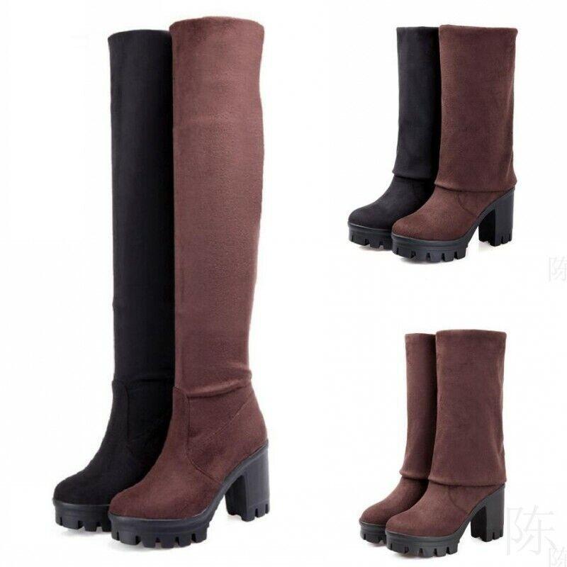 Damas mujeres Bloque Tacón Alto Zapatos De Plataforma Elástico Sobre la Rodilla Alta Bota de cadera