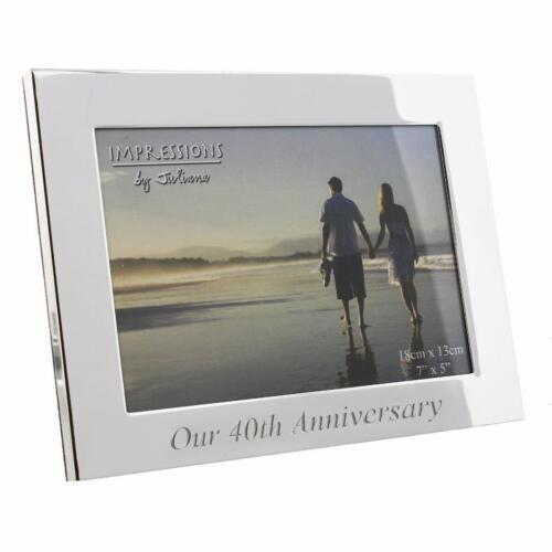 """Silverplated Photo Frame  Our 40th Ruby Wedding Anniversary Gift Box 7 x 5 /"""""""