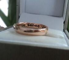EARLY 9ct Rose Gold Wedding Band Ring h/m 1924 Birmingham  -  size J