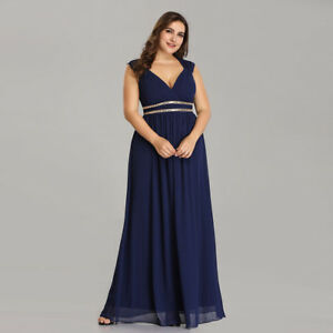 Details About Ever Pretty Long Navy Blue Bridesmaid Dresses Formal V Neck Wedding Gown 08697