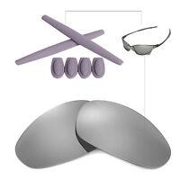 Walleva Titanium Ti Polarized lenses w Ear socks T-shocks for Oakley Juliet