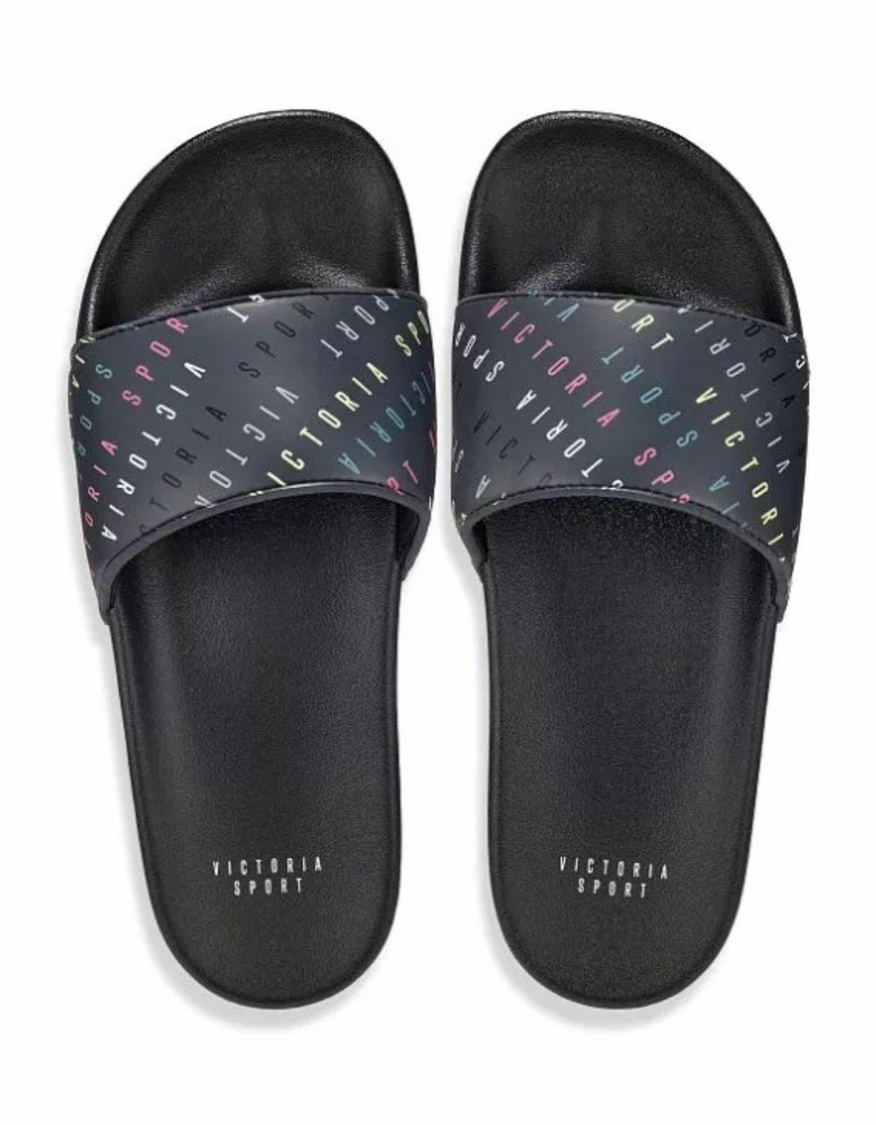 NIP Victoria's Secret Sport Black Multi LIMITED Logo Slides Size Medium LIMITED Multi EDITION 3a6e1e