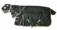 Horse Blanket Combo Waterproof Turnout Hood 1200D Heavy Weight Black 78 Medium