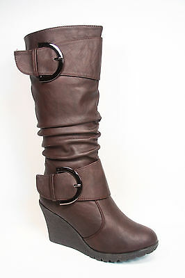 Cute Round Toe Slouch Buckle Wedge Mid Calf  Boot Women's Shoes Size 5 -10 NEW