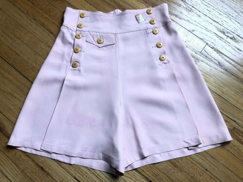 Vintage 1930s 40s Rayon Shorts Pleats Button Front