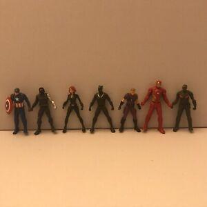 Marvel-small-Plastic-Figure-Lot-2-75-Captain-America-Black-Panther-Iron-Man