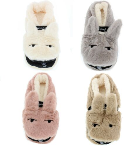 Cream//Pink//Brown//Grey Womens Novelty Soft Fluffy Bunny Rabbit Slippers