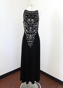 Vtg-Stenay-Black-Velvet-Silver-Floral-Sequin-Beaded-Evening-Formal-Dress-Size-8