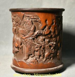 7-034-Chine-ancienne-palais-en-bambou-pinceau-pot-vase-a-crayon