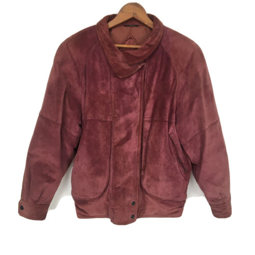 Utex Leather Crest Red Suede Zip Up Duck Down Fill