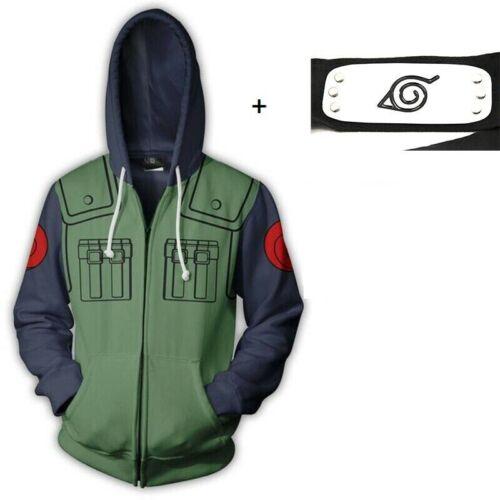 Naruto Kakashi Costume Hoodie Jacket Sweatshirt Set with Leaf Village Headband