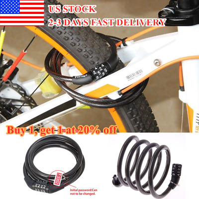 Cycling security 4 digit combination password bike bicycle cable chain lock+Ej$