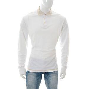 Massimo-Dutti-Uomo-Polo-Camicia-a-Manica-Lunga-Contrasto-Collare-Punta-3-Button