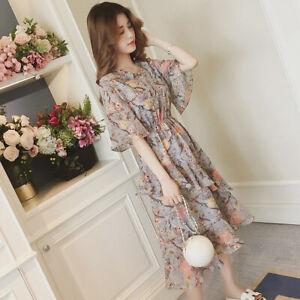 Korean-Girl-Summer-Casual-Floral-Ruffles-Short-Sleeve-Midi-Dress-Blue-Gray-XL