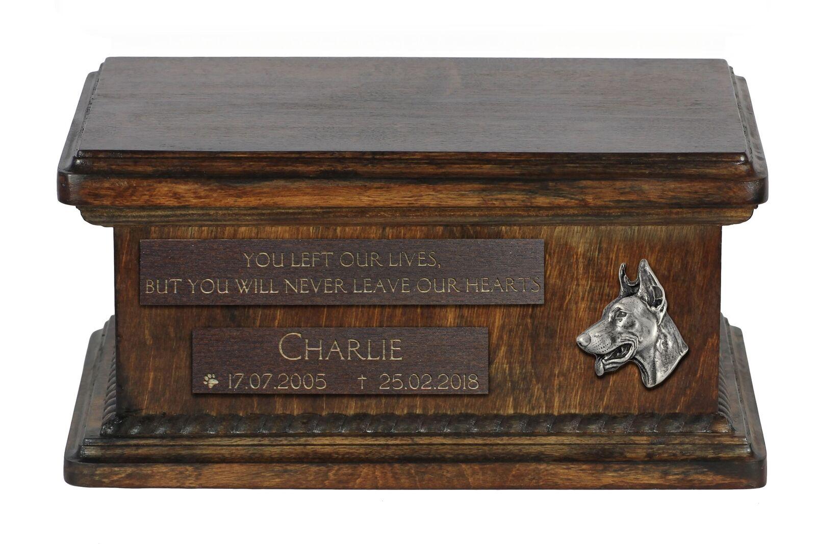 Dobermann - wooden urn for dog's ashes, low model, Art Dog