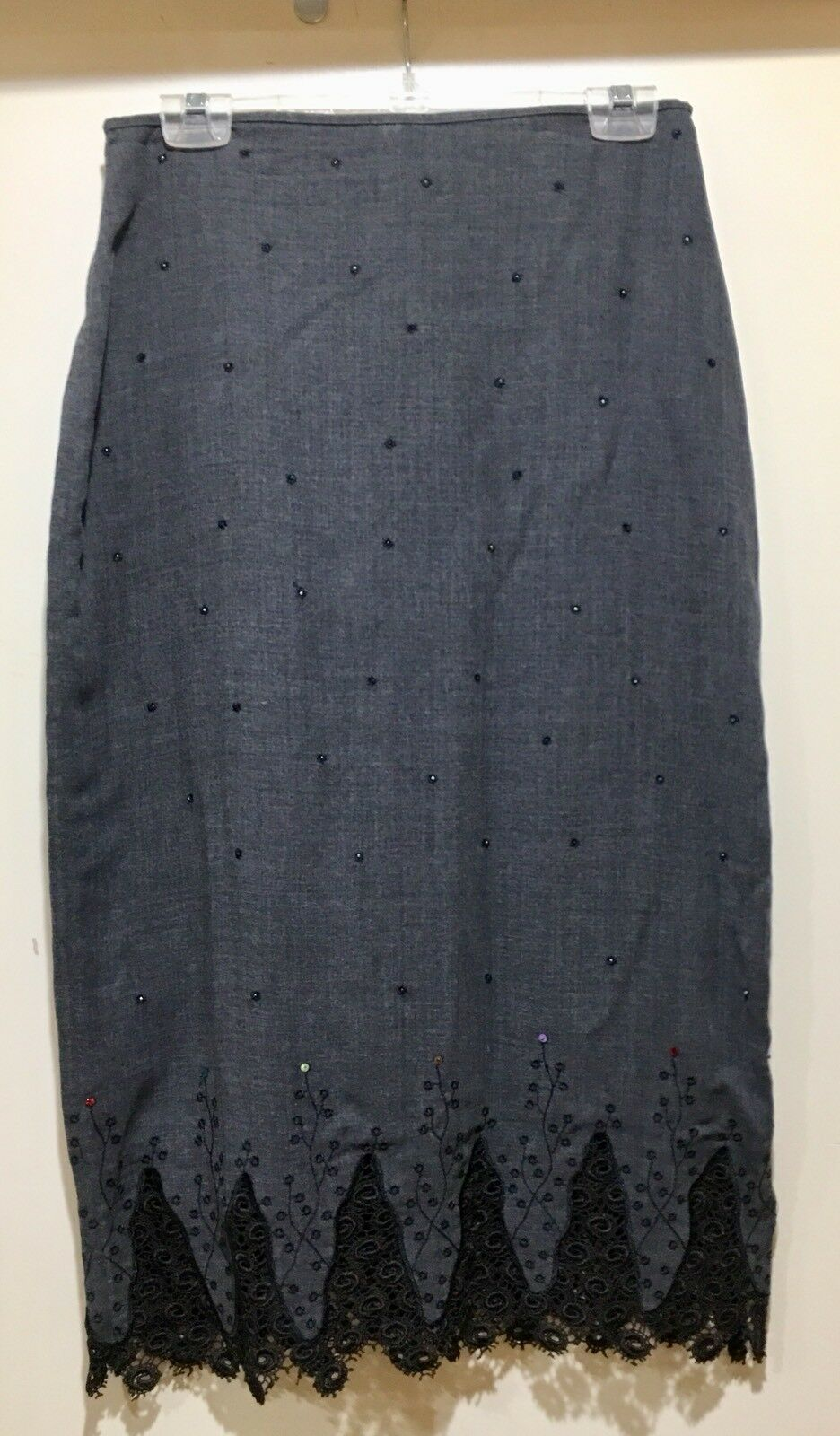 LANCE KARESH SKIRT Embroidered Bead SequinsLace straight pencil Sz8 Wool Lined