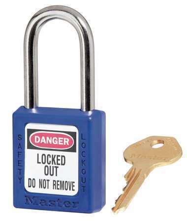 "MASTER LOCK 410BLU Zenex Lockout Padlock,KD,Blue,1-3//4/""H"