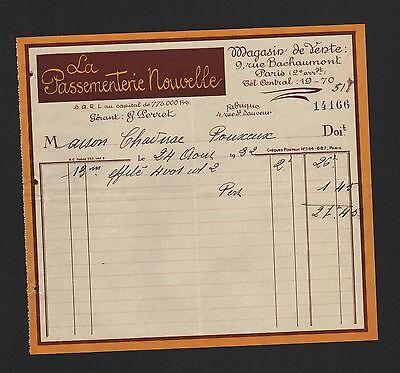 Paris, Rechnung 1932, La Passementerie Nouvelle Elegant Im Geruch