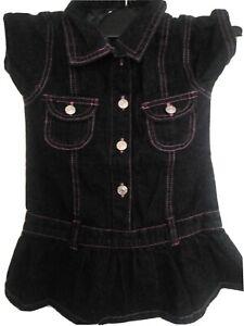 Girls-Demin-Dress-Black-amp-Pink-Size-4t-usa-UK-3-4-years