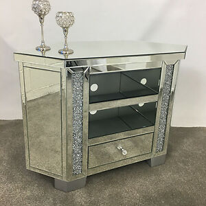 sparkly tall venetian mirrored glass diamond crystal corner tv cabinet stand ebay. Black Bedroom Furniture Sets. Home Design Ideas