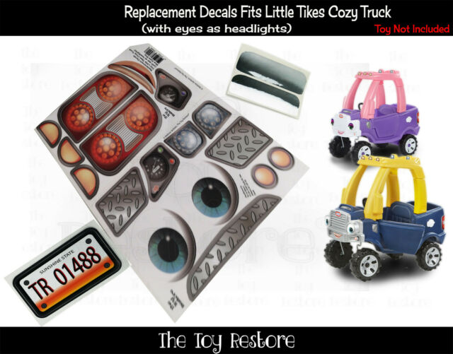 Replacement Decals fits 2017 Little Tikes Cozy Coupe Truck With Blue Eyes Boy