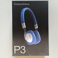 Brand Sealed Bowers & Wilkins P3 On Ear Wired Headphones Mic & Remote Blue