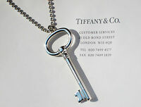 Tiffany & Co Sterling Silver Extra LARGE 2.5 Oval Key on Bead Necklace