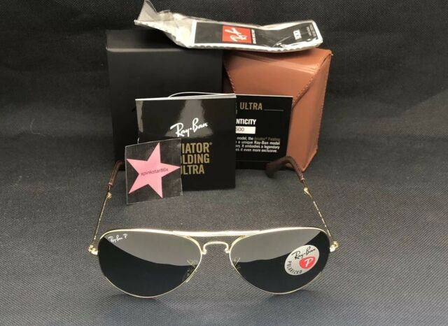 98776693262 Ray Ban 75th Anniversary 22kt Gold Folding Aviator P3 Plus Brown Gradient  Polar