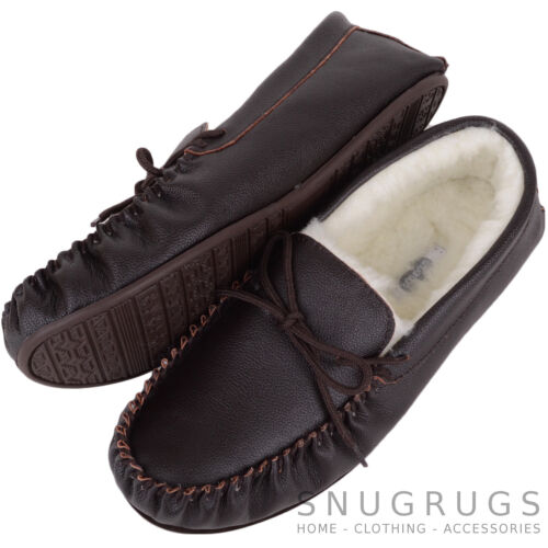 SNUGRUGS Mens Slippers Sheepskin Moccasins Gents Leather Wool Lined