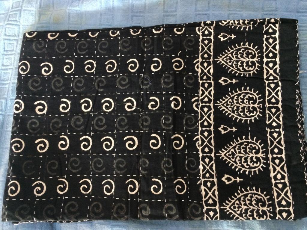 Ethnic-Bedspread Ralli Twin SIze Bagru Kantha Quilt Indian Handmade Blanket VZ