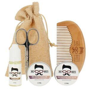 Beard-Grooming-Kit-Oil-Balm-Moustache-Wax-Comb-amp-Scissors-Cedarwood-Scent