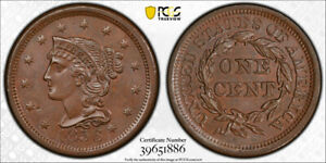 1856-1C-Upright-5-Braided-Hair-Large-Cent-PCGS-MS-65-BN-Uncirculated-Exceptio