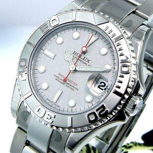 d5c8ca0e4b0 Image is loading UNWORN-ROLEX-YACHTMASTER-168622-MIDSIZE-STEEL-PLATINUM-DIAL -