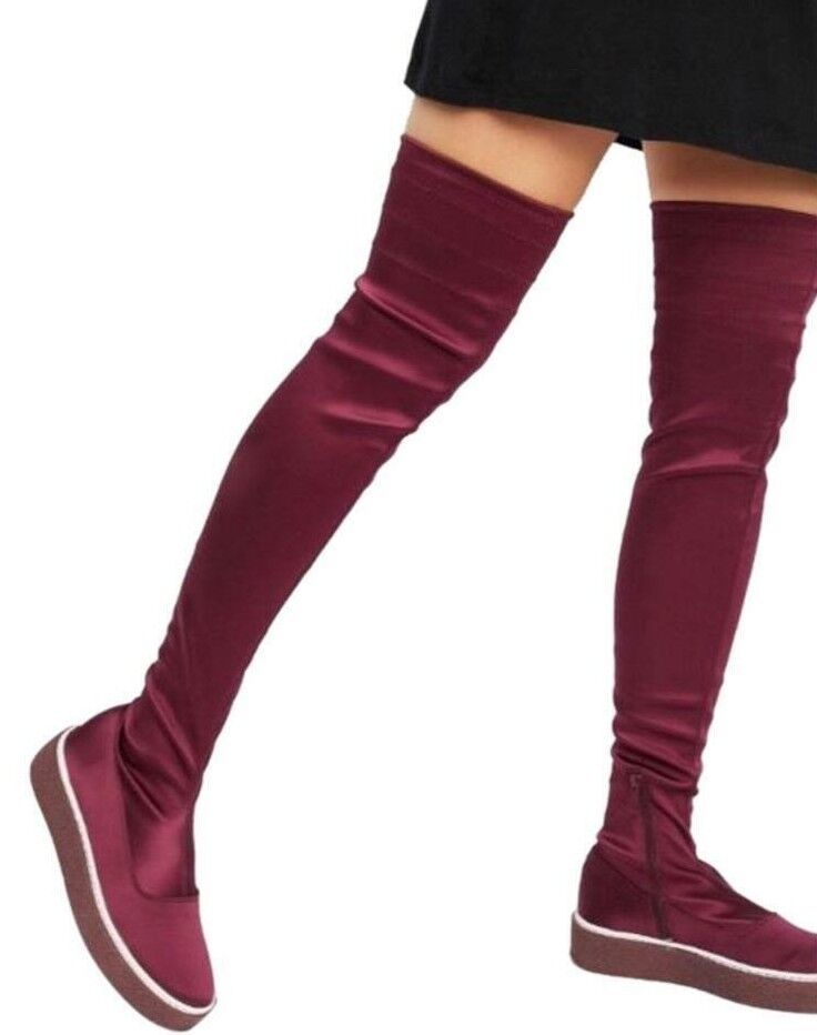 248 NWB FREE PEOPLE Sz38 OUTER LIMITS OVER THE KNEE STRETCH BOOTS RED MAROON