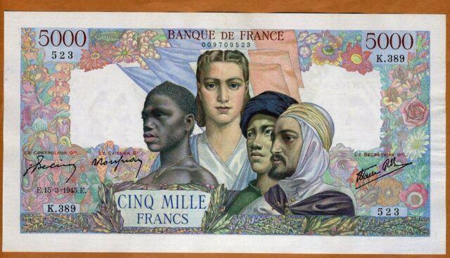 France, 5000 francs, 1945, P-103 (103c), WWII, aUNC