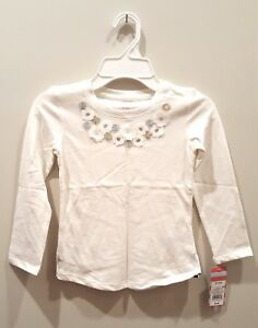Girls-Cat-amp-Jack-Almond-Cream-White-Flowers-Long-Sleeve-Shirt-XS-S-M-L-XXL